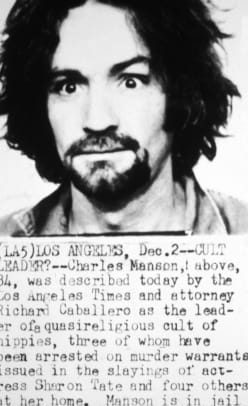Police mug shot of American cult leader and murderer Charles Manson. Information about the Tate-LaBianca murders is detailed below the photo. (Photo by Hulton Archive:Getty Images)