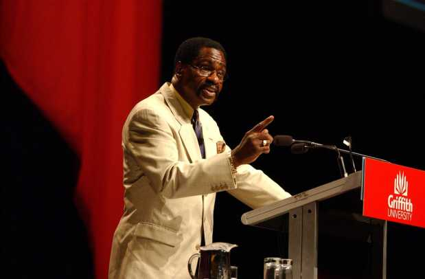 Rubin 'Hurricane' Carter gives a lecture at the Brisbane Convention Centre