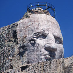 The Crazy Horse Monument in South Dakota.