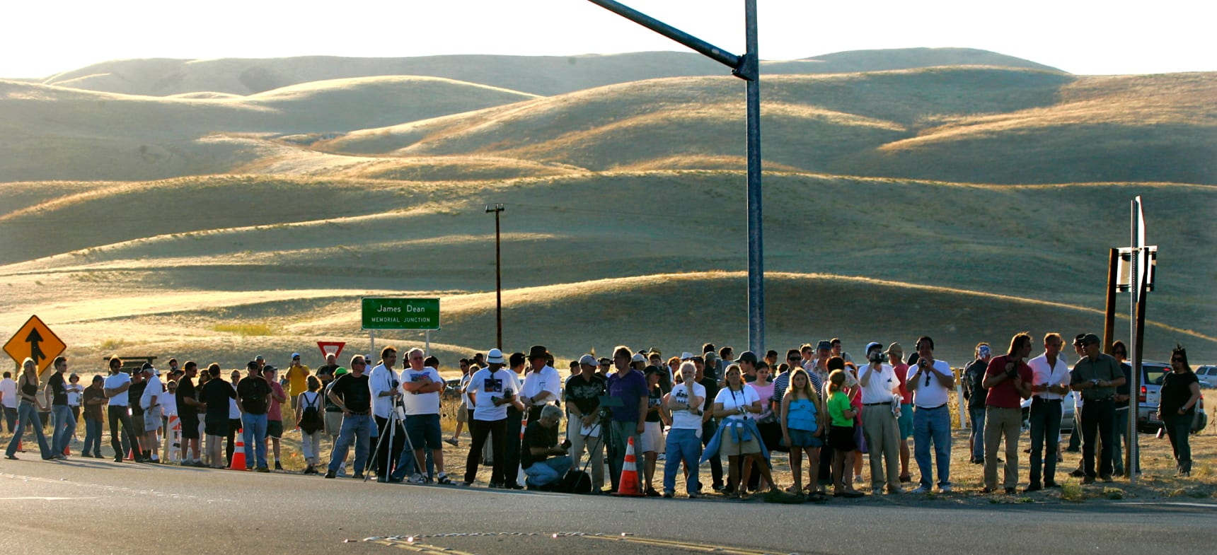 Fans gather at the crash site where James Dean died at Intersection 41 and 46 H.