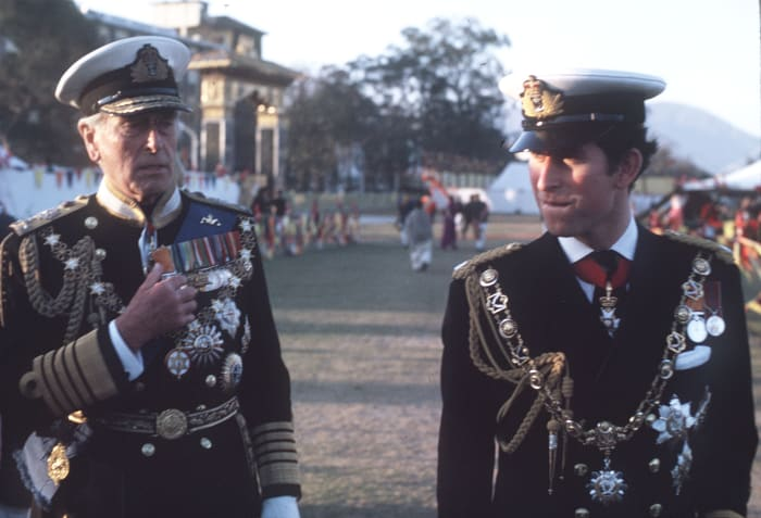 Lord Mountbatten and Prince Charles at the coronation of King Birendra in Nepal in 1975