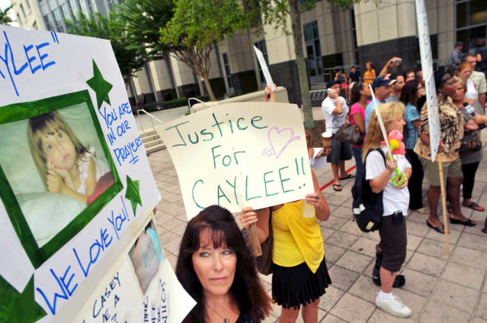 Protesters outside the Orange County Courthouse on July 7, 2011