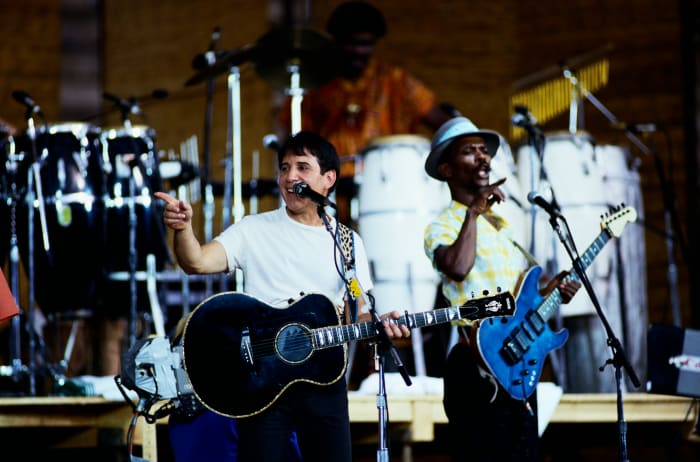 Paul Simon performs on stage during a tour to promote his