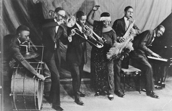 Ma Rainey and her band, the Rabbit Foot Minstrels, circa 1924 in Chicago, Illinois