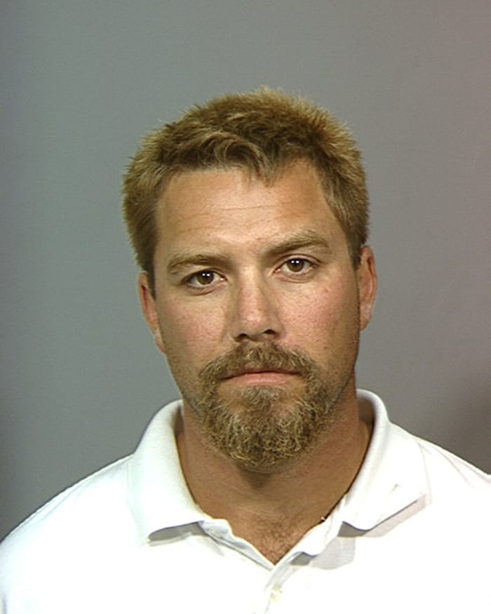 In this handout image released by the Stanislaus County Sheriff's office, Scott Peterson is shown after his arrest