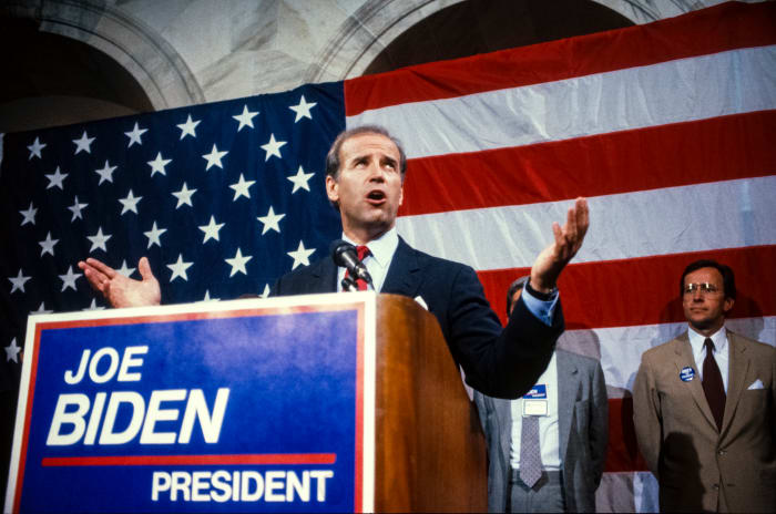 Joe Biden announces his intention to run for the Democratic presidential nomination in Washington, D.C, on June 9, 1987.