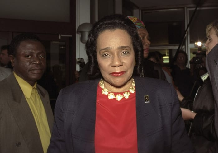 Coretta Scott King leaving Jacobi Hospital after visiting Betty Shabazz on June 2, 1997