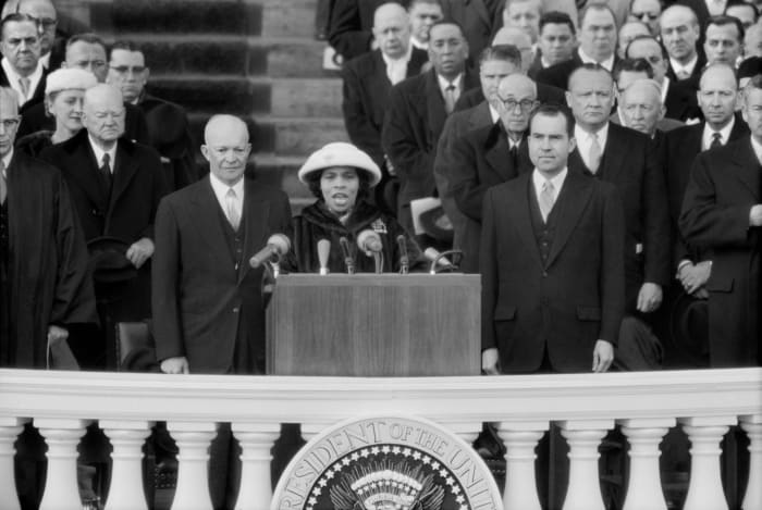 Marian Anderson performing during the inauguration of Dwight Eisenhower in Washington, D.C. on January 21, 1957