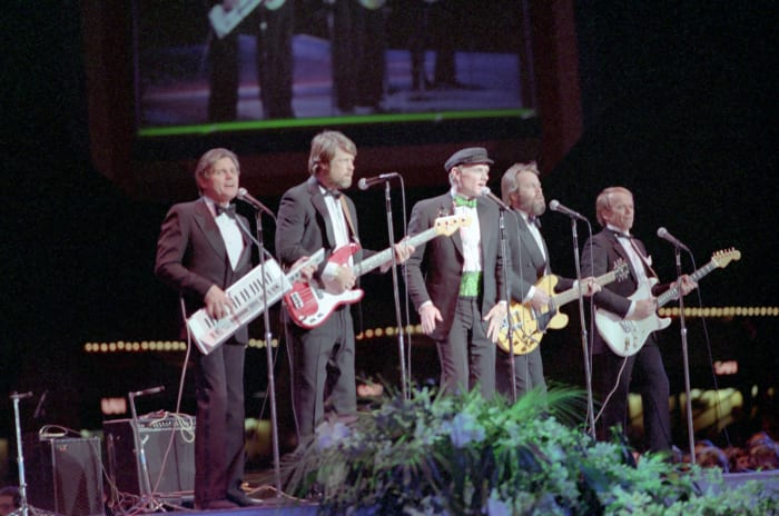 The Beach Boys performing at the inaugural gala for Ronald Reagan at the Convention Center in Washington, D.C. on January 19, 1985