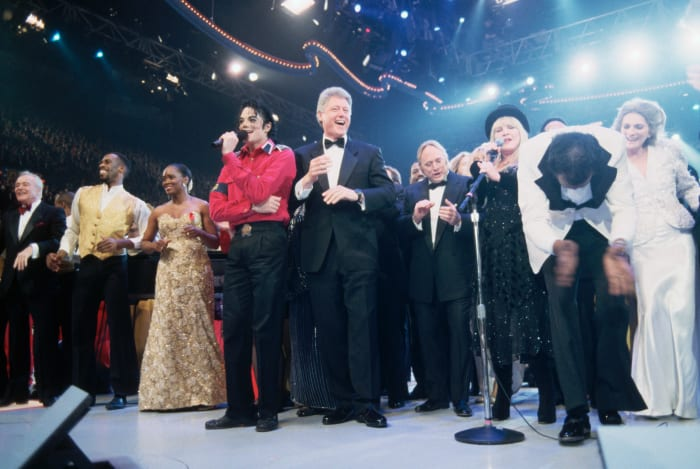 Bill Clinton and celebrities at his inaugural gala on January 19, 1993