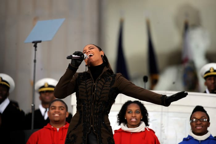Beyonce performs at Barack Obama's inauguration celebration on the steps of the Lincoln Memorial on January 18, 2009