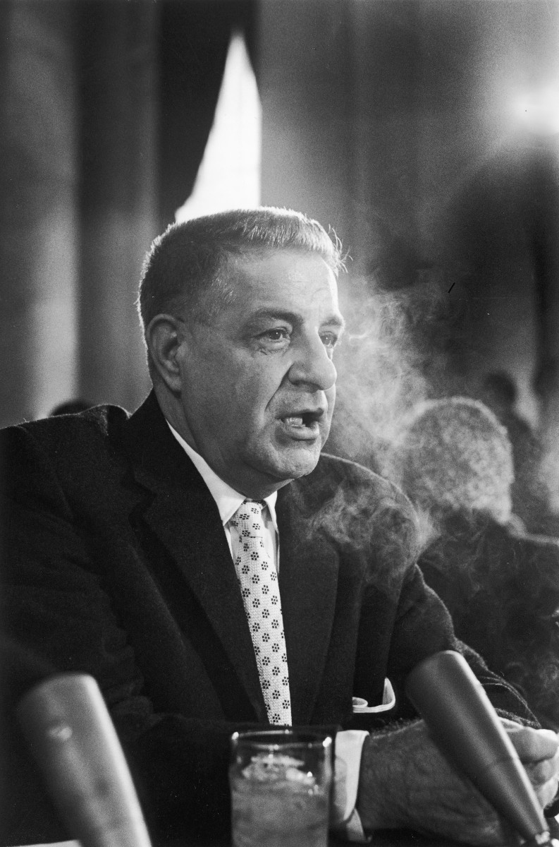 Infamous Mobsters: Mafia member turned government informant Joseph Valachi testifies before the Senate Rackets Committee in Washington D.C., 1963.