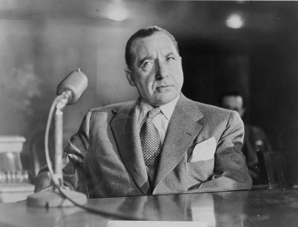 Infamous Mobsters: American mob boss Frank Costello testifies before the Kefauver Committee investigation into organized crime in 1951.