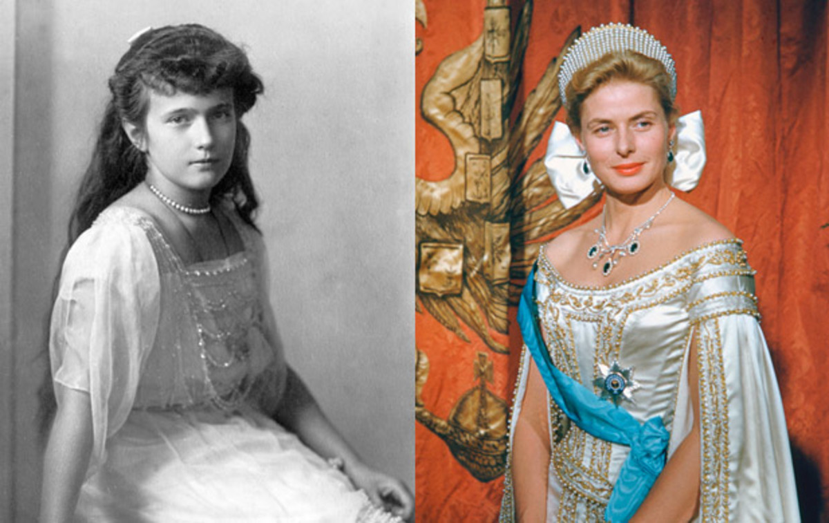 Oscar-Winning Portrayals: Anastasia/Anna Anderson, portrayed by Ingrid Bergman in Anastasia (1956). Bergman performed as Anna Anderson, a woman claiming to be the Grand Duchess Anastasia, who had been murdered during the October Revolution. Though ultimately an imposter, Anna Anderson's handwriting, as well as her ear, were found to be almost identical to the real Anastasia's.