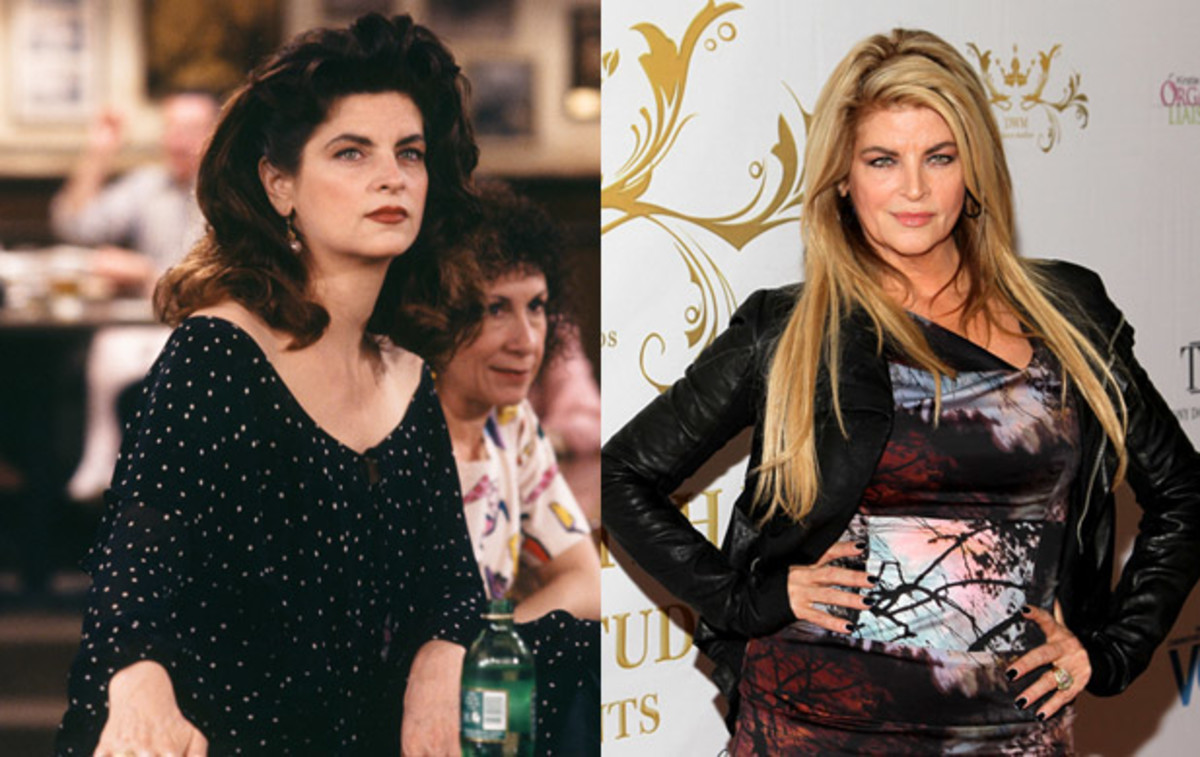 Where Are They Now: Cast of Cheers: Kirstie Alley won her first Emmy playing bar manager and waitress Rebecca Howe on Cheers. Alley joined the cast in 1987, replacing Shelley Long. Her career after Cheers included starring roles in the Look Who's Talking film franchise, the TV show Veronica's Closet, a spin on the dance floor as a cast member of Dancing with the Stars and appearances as a spokesperson for Jenny Craig.(Left) Photo by Paul Drinkwater/NBC/NBCU Photo Bank via Getty Images. (Rigth) Photo by Steve Mack/FilmMagic)