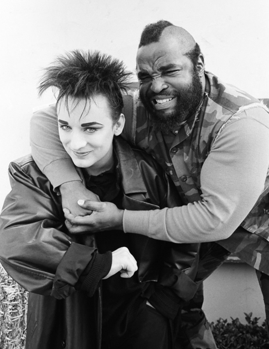 "Mr. T poses with Boy George from The A-Team's Season 4, episode 16 ""Cowboy George."" 1986. (Getty)"