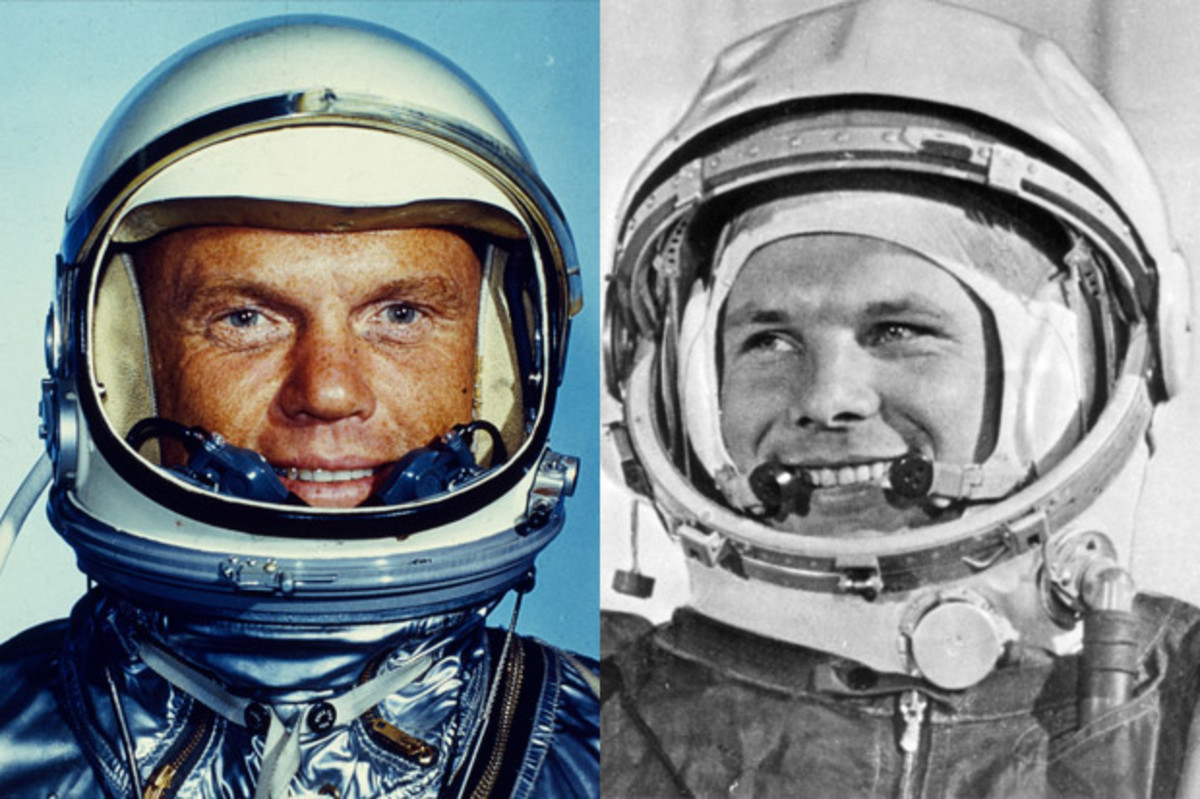 John Glenn and Yuri Gagarin. (Getty)