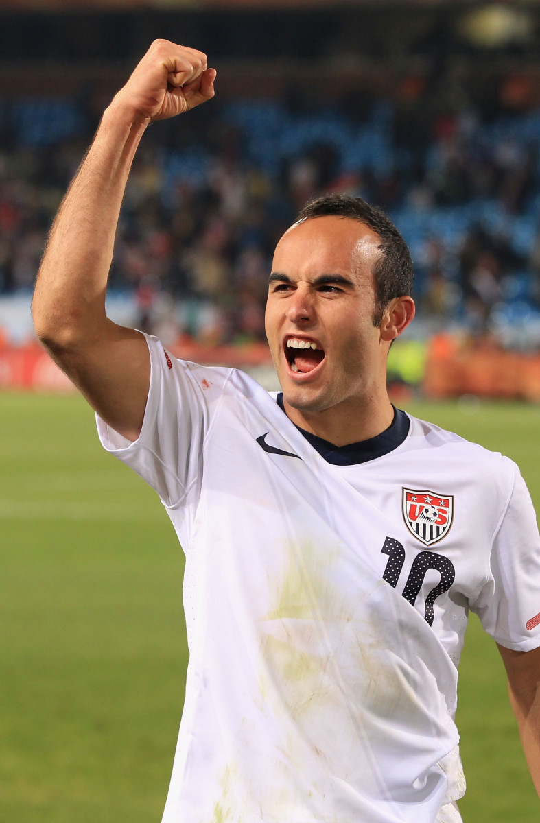 Landon Donovan celebrates victory that sends the USA through to the second round in the 2010 FIFA World Cup South Africa Group C match between USA and Algeria. (Photo: Martin Rose / Getty Images)
