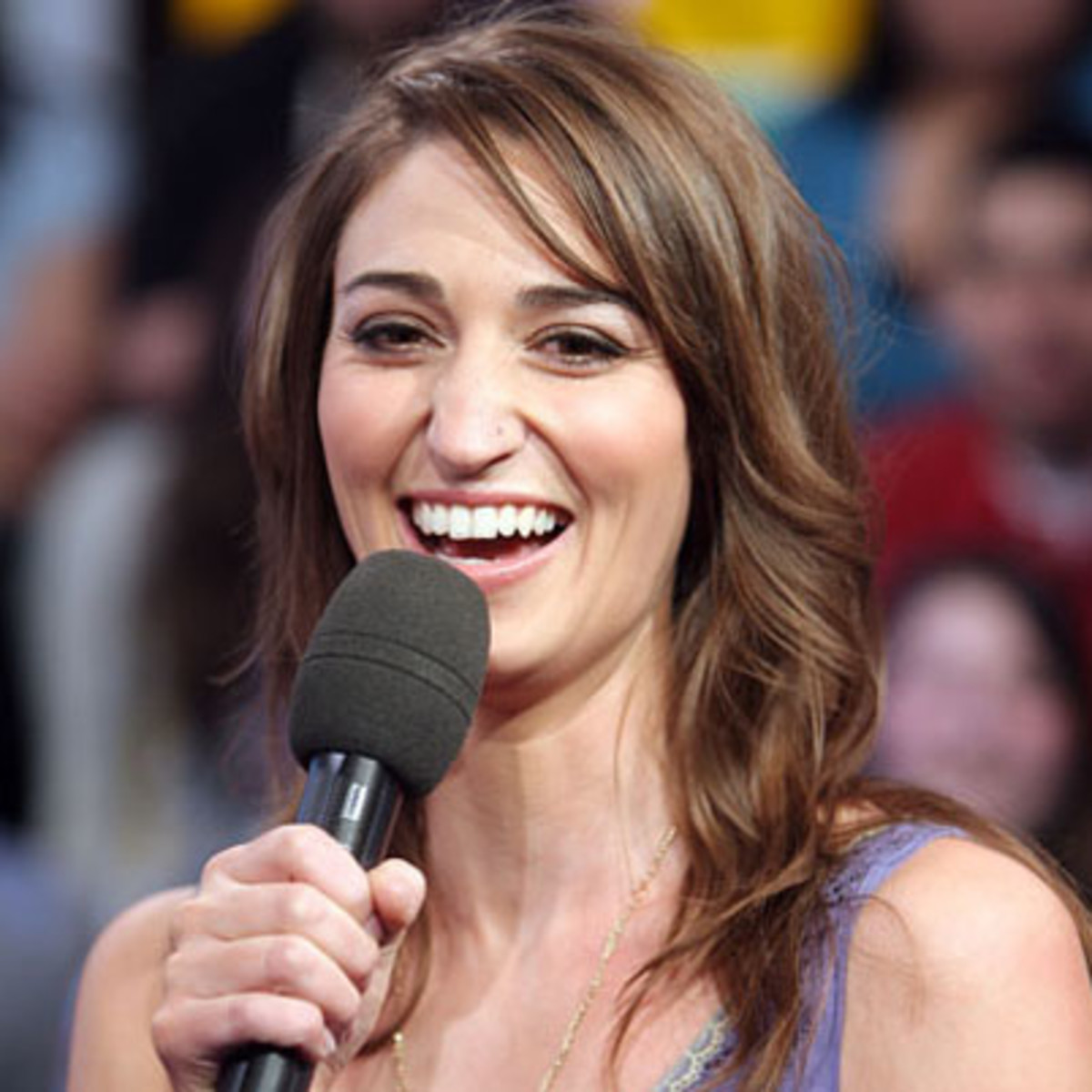 NEW YORK - FEBRUARY 27:  (U.S. TABS OUT) Singer Sara Bareilles appears onstage during MTV's Total Request Live at the MTV Times Square Studios on February 27, 2008 in New York City.  (Photo by Scott Gries/Getty Images)