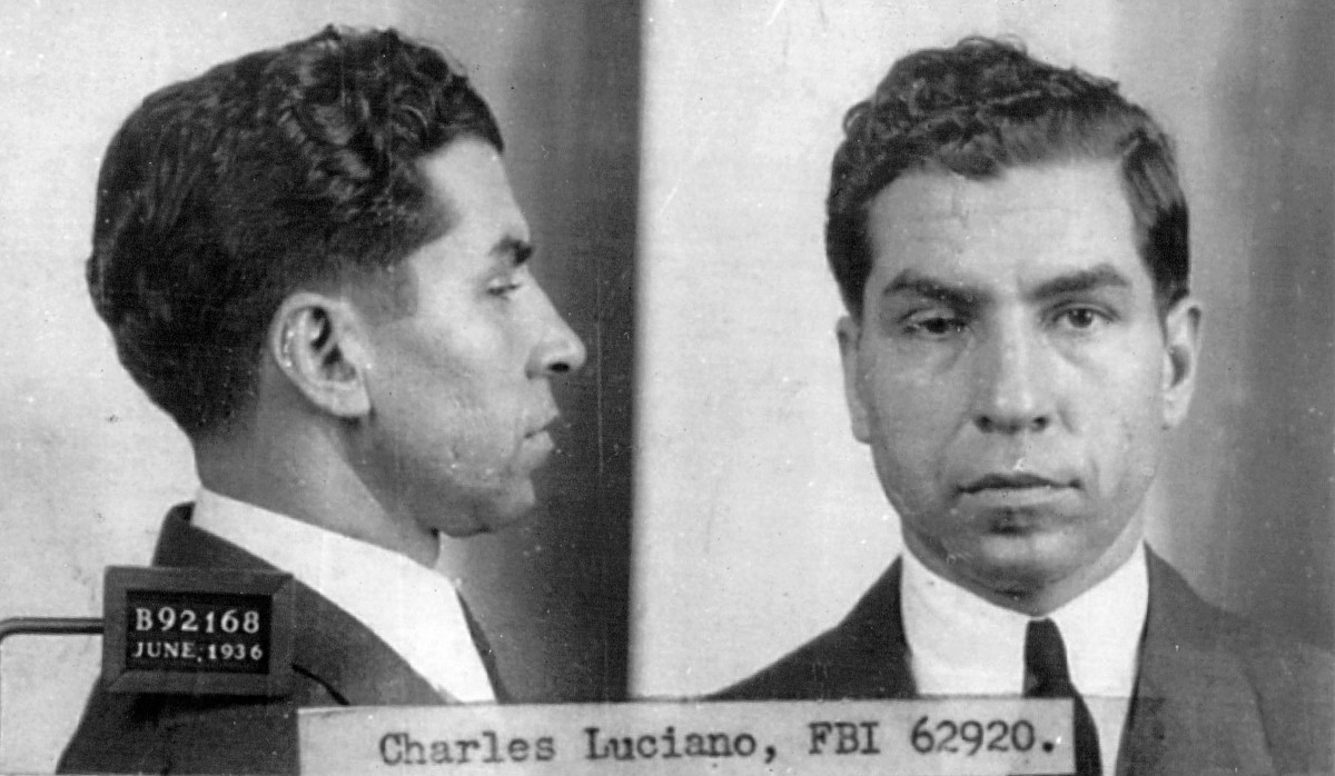 "Infamous Mobsters: Charles ""Lucky"" Luciano, organized crime boss of the Sicilian ""La Cosa Nostra"" Mafia, poses for an FBI photo in 1925."
