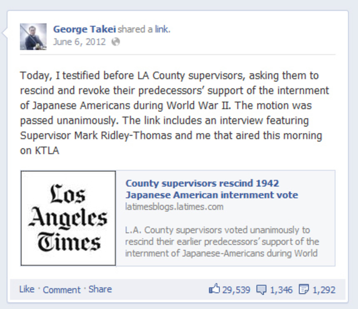 George Takei Facebook Post Photo
