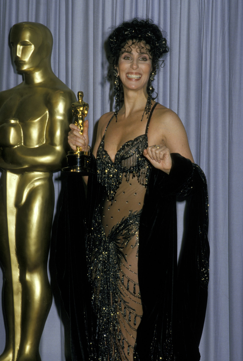 Cher wins an Oscar for Best Actress in 'Moonstruck,' 1988. (Photo: Getty Images)