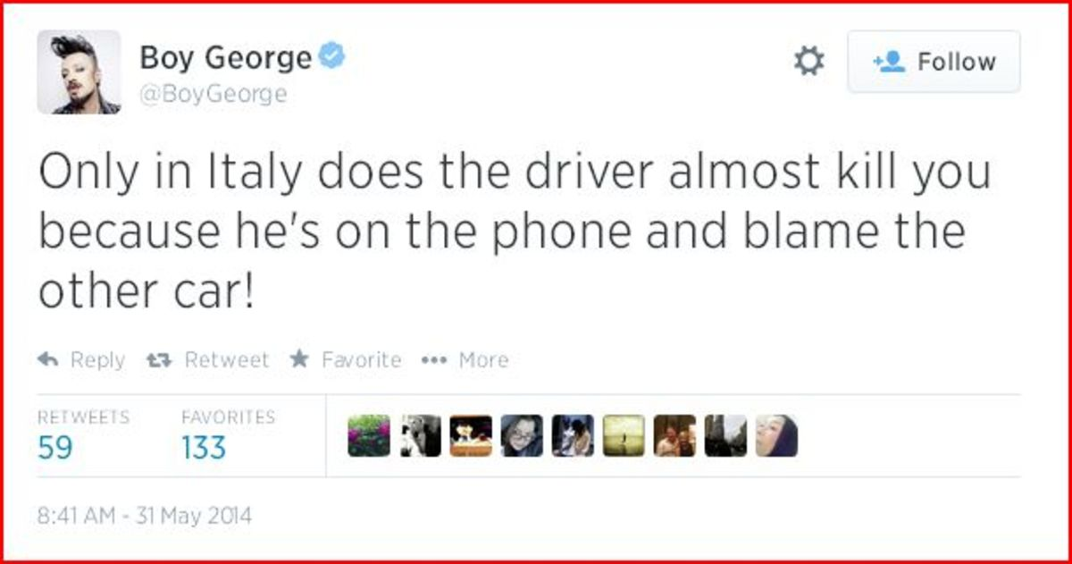 Boy George performs around the world, tweeting about his experiences on the road.