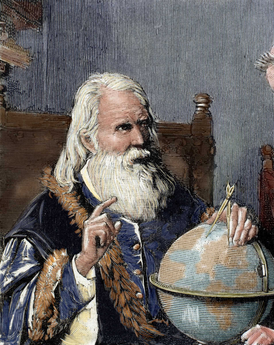 Tech Giants: Our kind of Gal. Galileo Galilei (1564-1642), was an Italian  physicist, mathematician and astronomer, who developed astronomical theories and invented several tools still used today, including the first thermometer and a pendulum clock. Additionally, Galileo improved on the telescope, first created by German inventor Hans Lipperhey. Above: From Spanish and American Illustration, engraved by Rico, 1884 (engraving, later colouration). (Photo by Prisma/UIG/Getty Images.)
