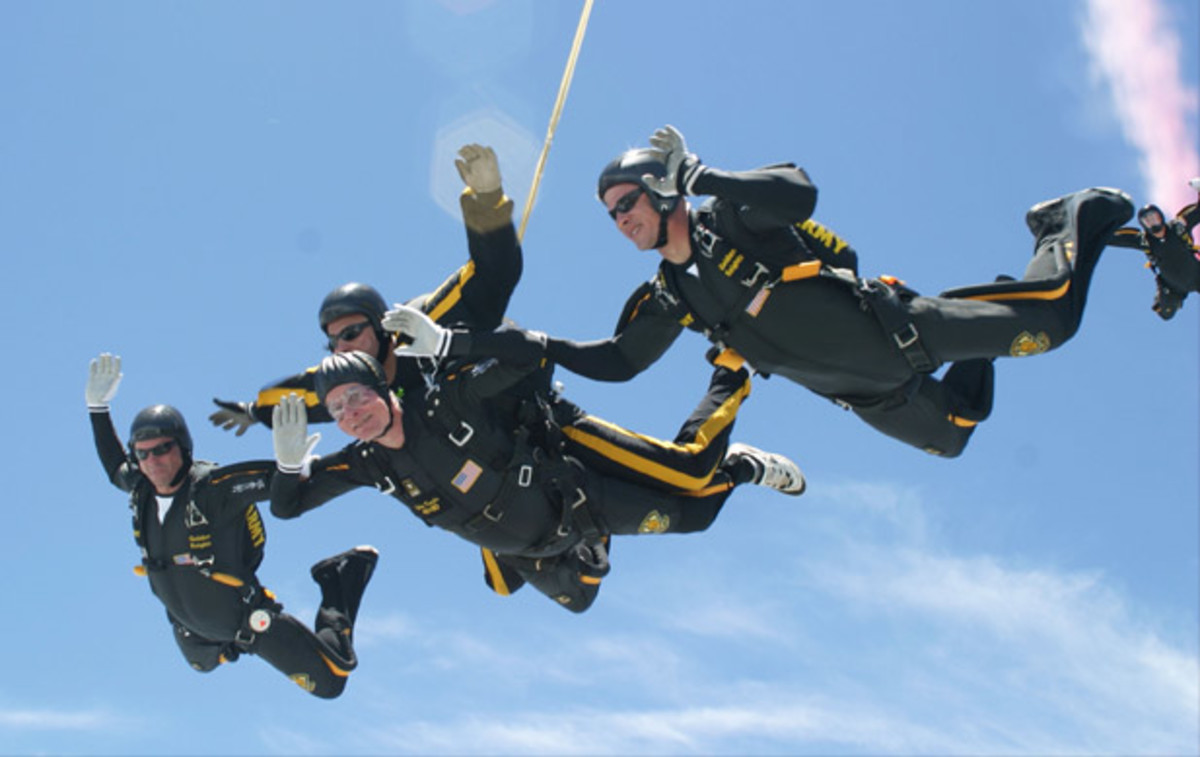 George H.W. Bush skydives on his 80th birthday