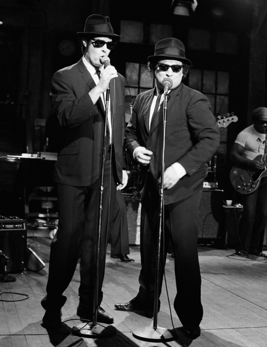 "Dan Aykroyd and John Belushi as Elwood and ""Joilet"" Jake Blues. April 22, 1978. (Getty)"
