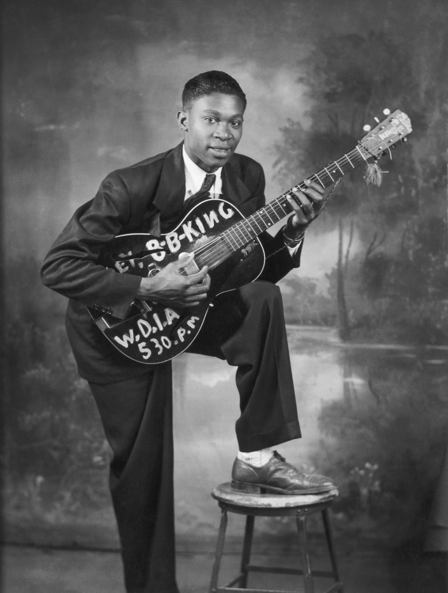 B.B. King: B.B. King is the epitome of a living legend. The blues singer pioneered the way for others using only a guitar and his signature soulful voice, seen here as an up-and-coming artist in 1948 in Memphis, Tennessee. (Photo by  Michael Ochs Archives/Getty Images)