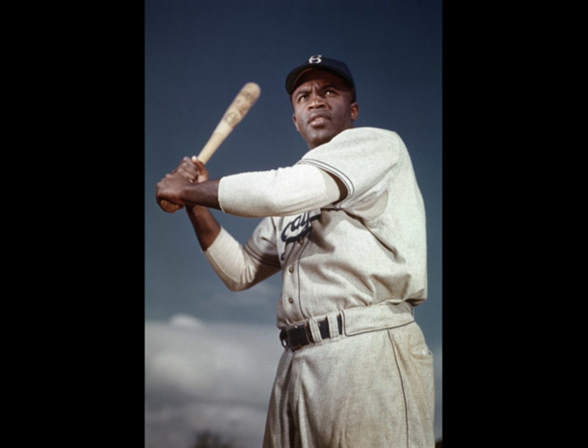 Jackie Robinson: Brooklyn Dodger Jackie Robinson poses in his batting stance. Robinson broke baseball's color barrier when he joined the Dodgers in April 1947, going on to be named National League Rookie of the Year. Two year's later, Robinson was named National League Most Valuable Player.