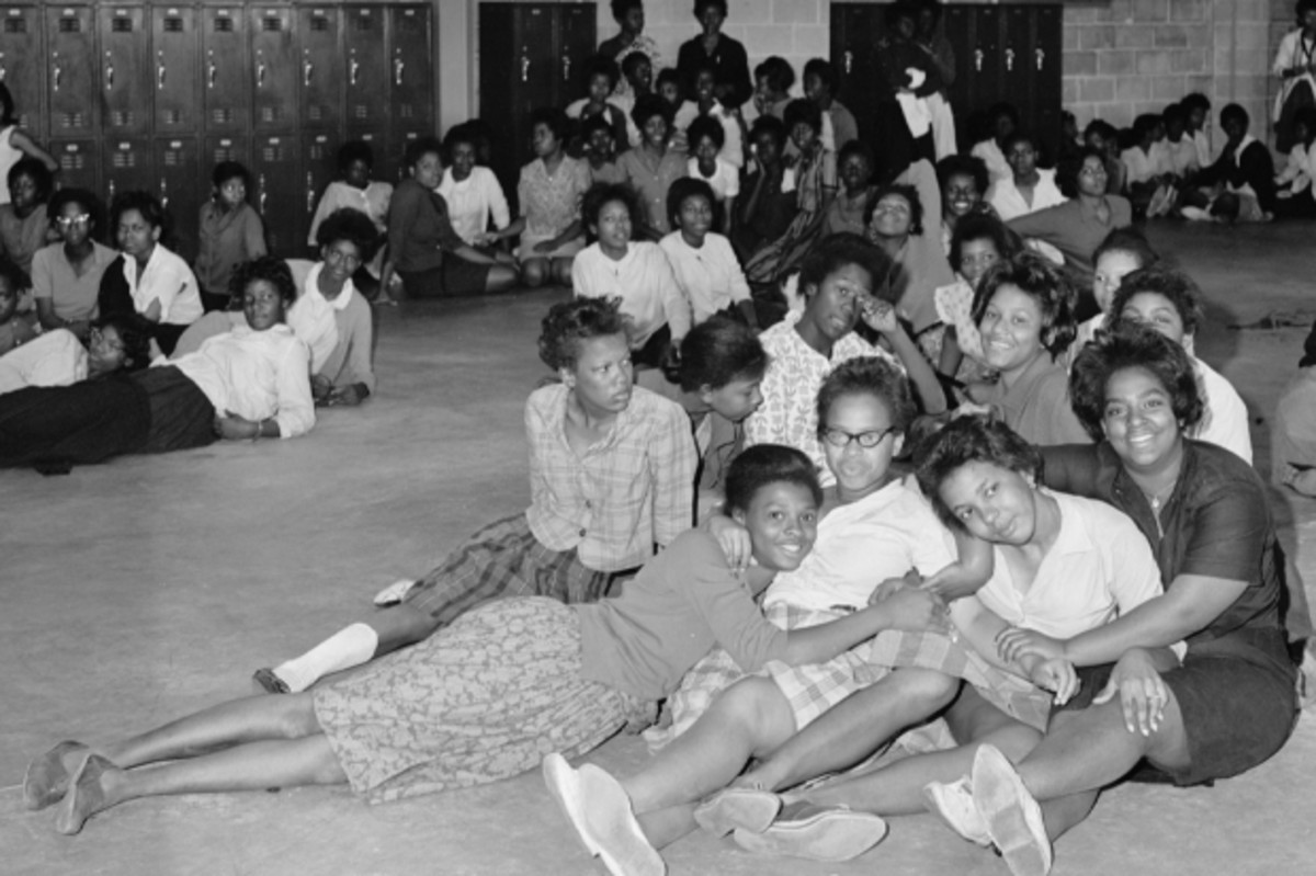 Girls between the ages of 14-17 sit in a detention center in Birmingham, Alabama.