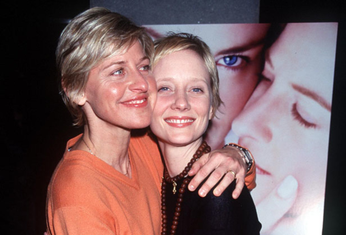 Celebrity Couples: Anne Heche and Ellen DeGeneres' relationship made headlines  at  the same time that Ellen's character comes out on her sitcom  Ellen in  1997. The two blondes became role models as they openly walked  the red  carpet hand in hand and spoke out on gay issues. They broke up in 2000. (Photo: Getty Images)