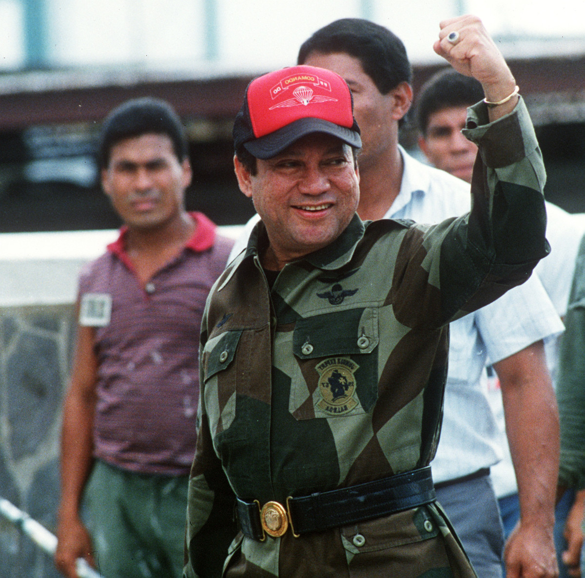 Manuel Noriega waving as he left his headquarters in Panama City following a failed coup against him in 1989.