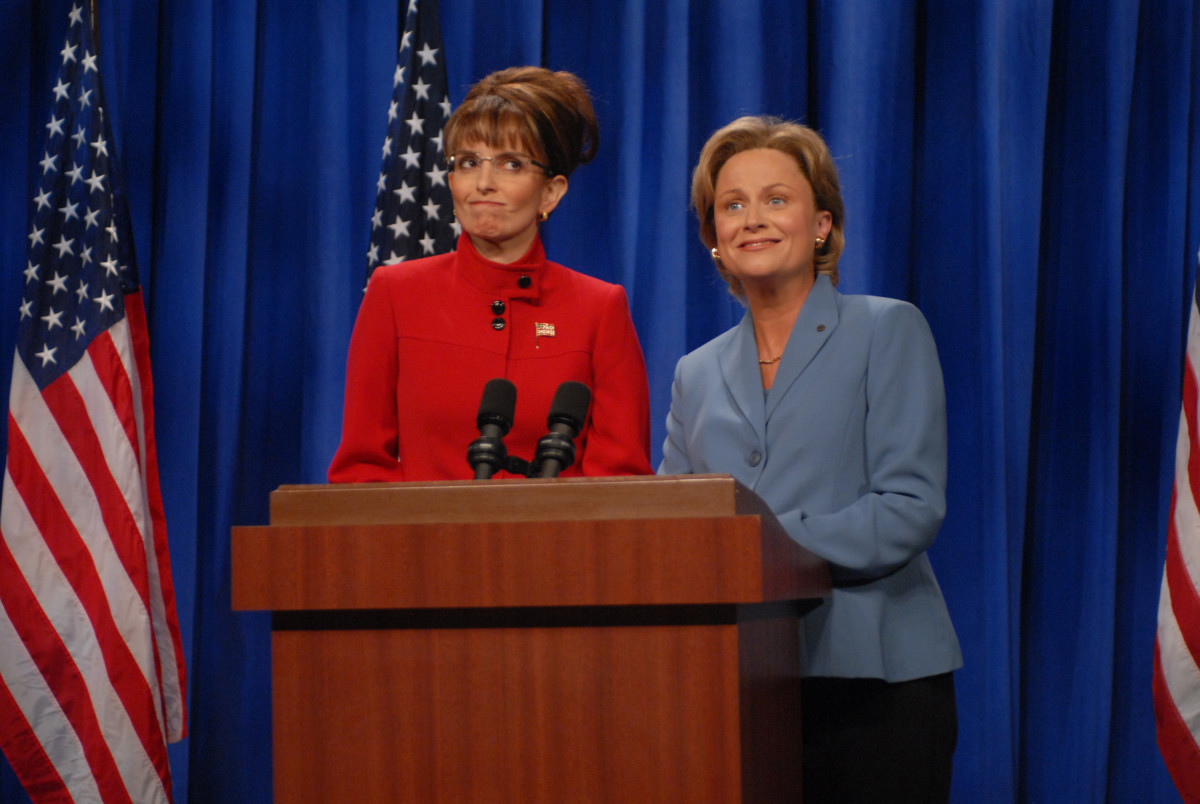 SNL Presidents: Backwoods Bouffant and Golden Hamster join forces. Tina Fey as Governor Sarah Palin and Amy Poehler as Senator Hillary Clinton in 'A Nonpartisan Message From Sarah Palin & Hillary Clinton' skit in 2008.