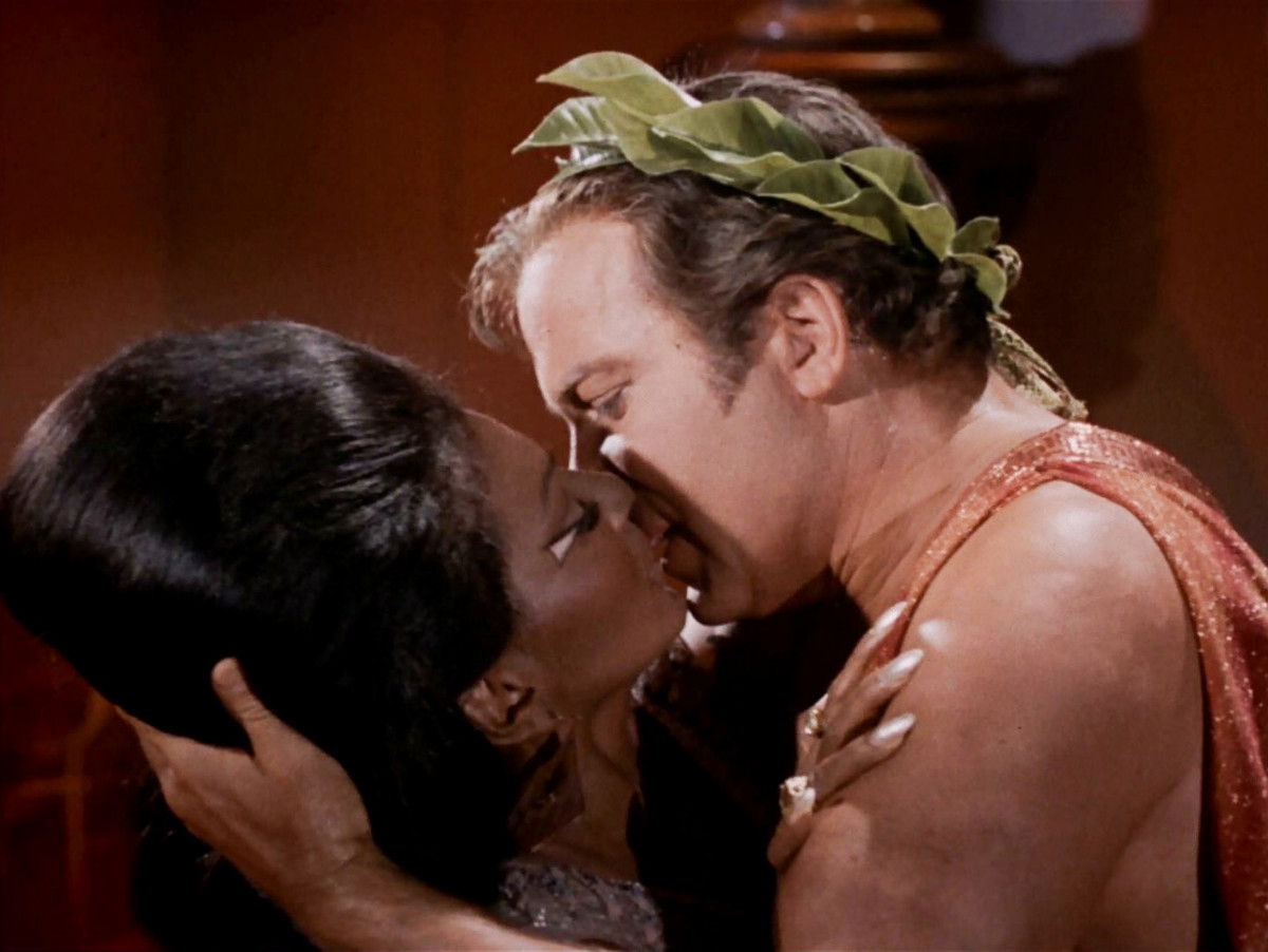African-American Firsts: Film & TV: Although she lived in a galaxy far, far away, Nichelle Nichols still made history in the U.S. for locking lips with William Shatner on the series Star Trek, taking part in the first interracial kiss on TV on November 22, 1968. (Photo by CBS via Getty Images)