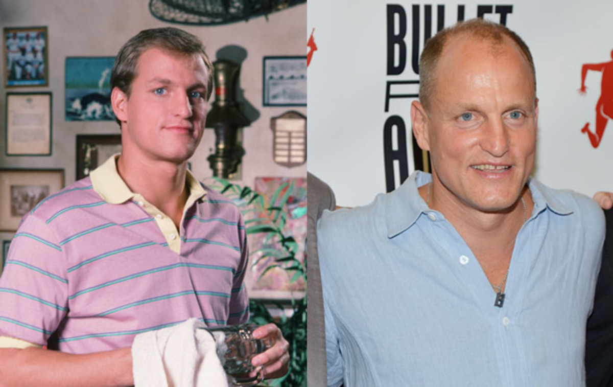 Where Are They Now: Cast of Cheers: Woody Harrelson joined the Cheers cast as dim-witted, but lovable bartender Woody Boyd in 1985. The role helped launch his career, landing him major roles in movies including White Men Can't Jump, The People vs. Larry Flynt and No Country for Old Men.(Left) Photo by NBC/NBCU Photo Bank via Getty Images. (Right) Photo by Mike Coppola/Getty Images.