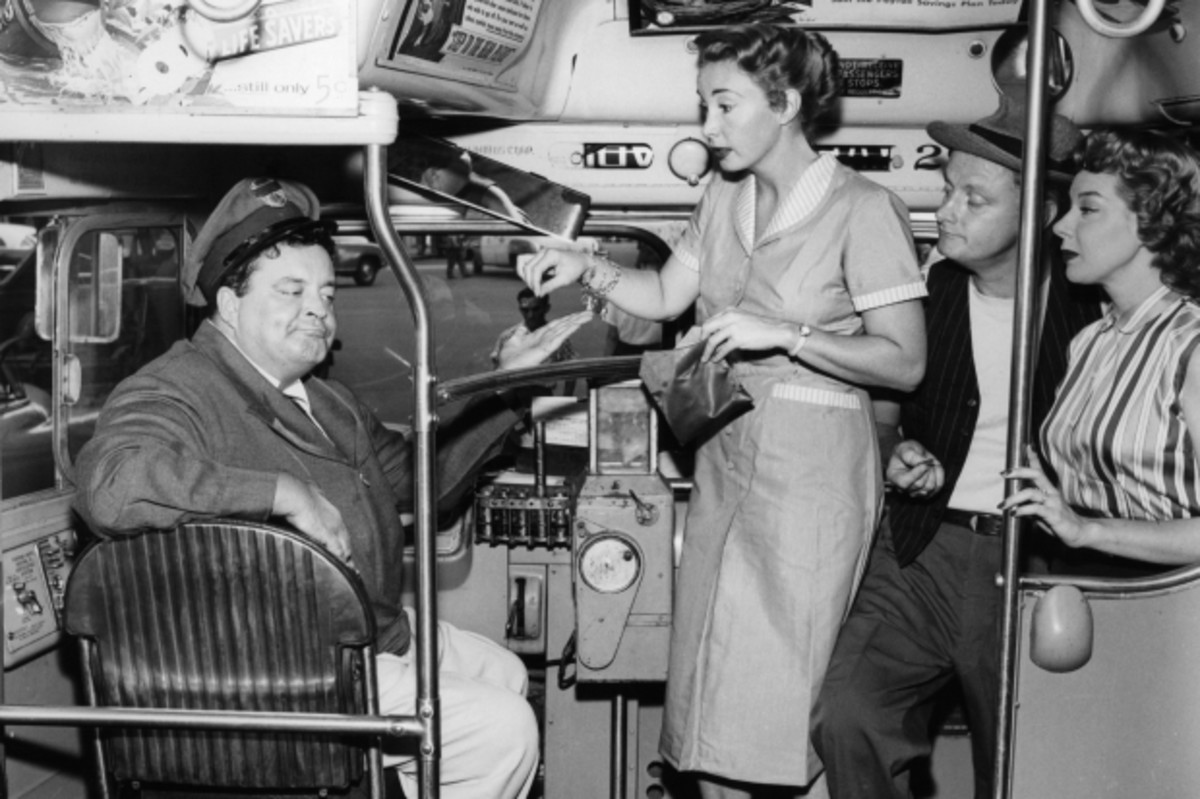 Jackie Gleason, Audrey Meadows, Art Carney, and Joyce Randolph in 'The Honeymooners,' 1956. (Getty)