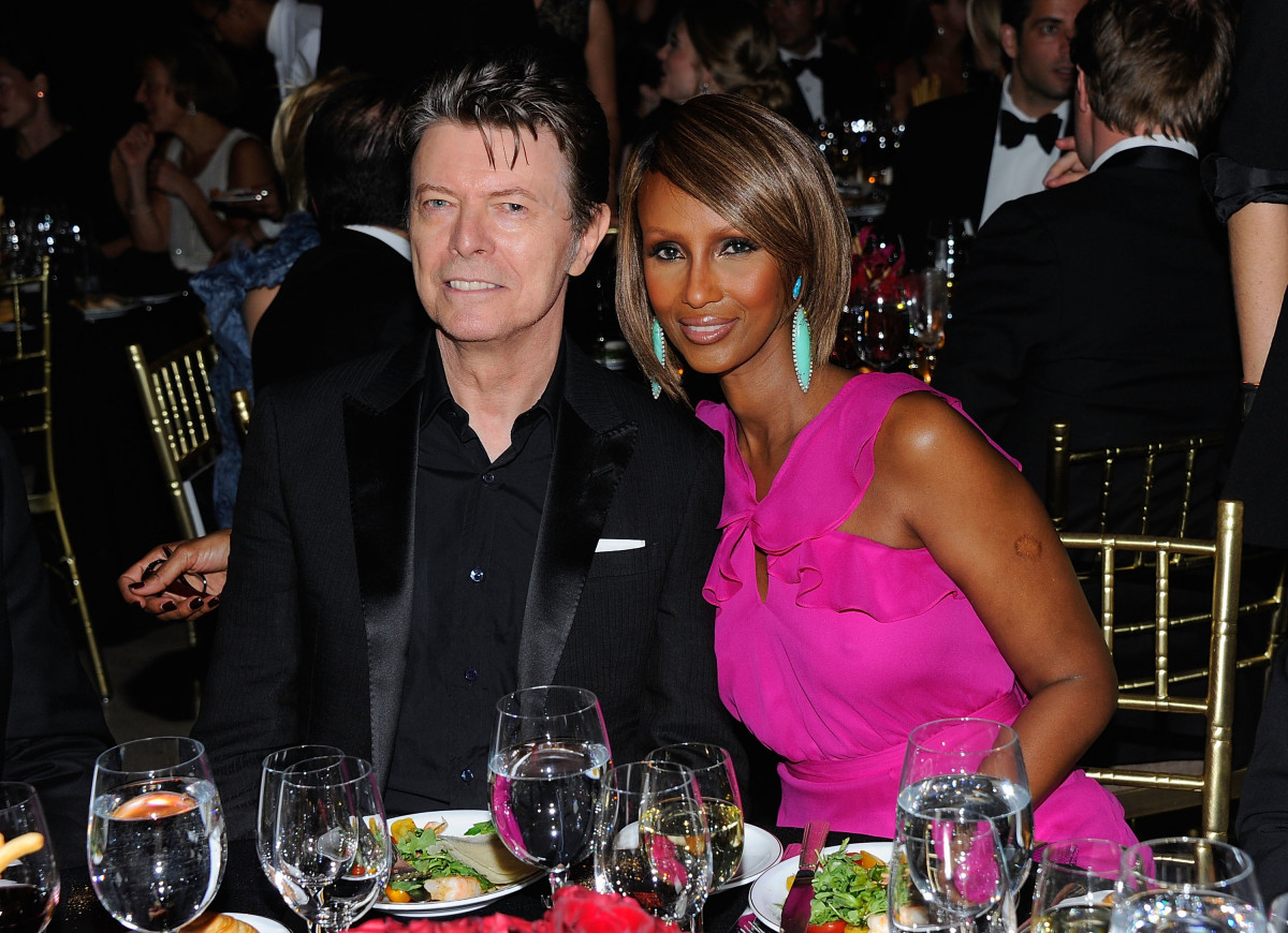 David Bowie: David Bowie and supermodel Iman have been married for 21 years. Iman says she didn't fall for Bowie's rock star persona, but his gentlemanly manners, including a time during their courtship when he bent down to tie her shoe laces. (Photo by Andrew H. Walker/Getty Images for DKMS)