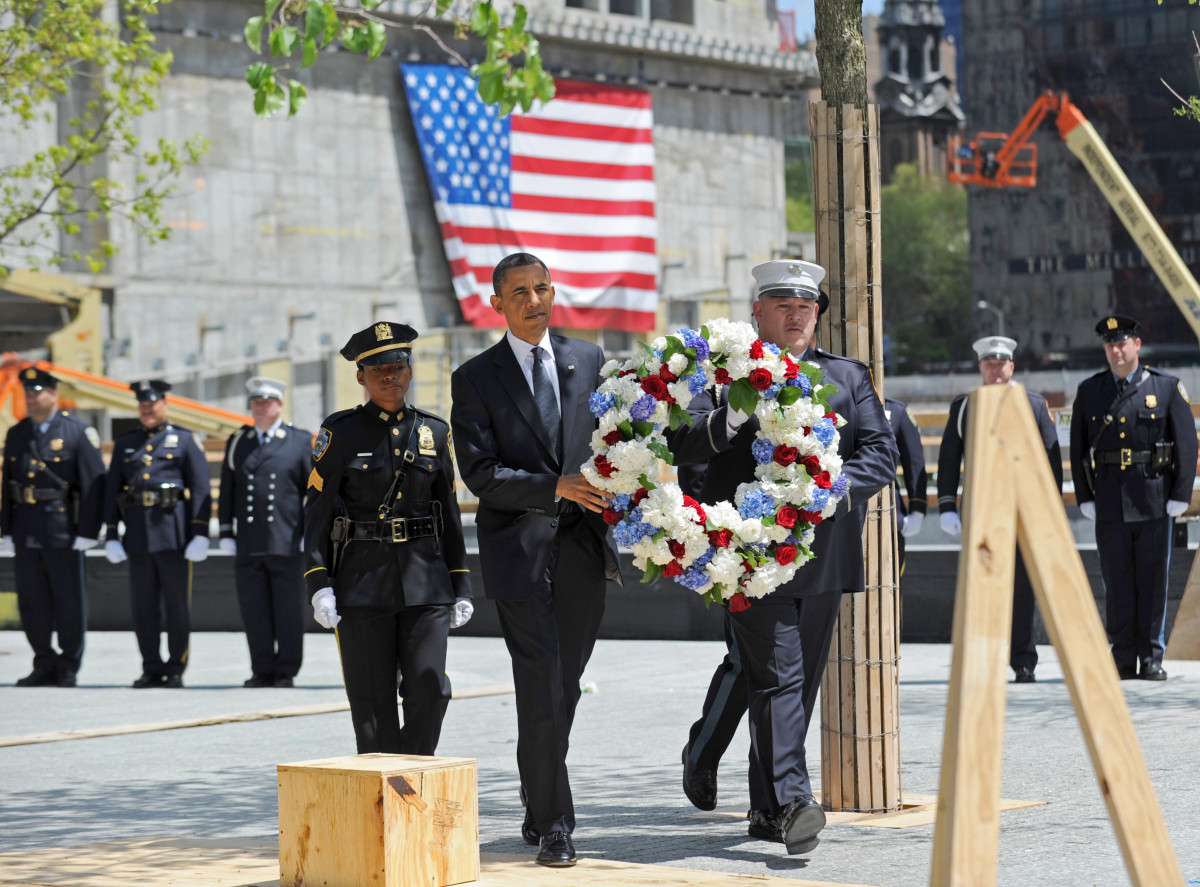 Barack Obama: President Obama lays a wreath in New York City at the 9/11 Memorial at Ground Zero on May 5, 2011, four days after he announced the killing of Osama bin Laden.