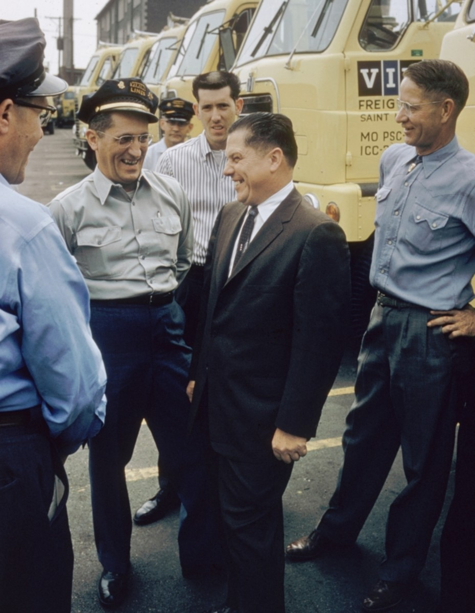 Jimmy Hoffa speaking with drivers of the Viking Freight Company in St Louis, Missouri. 1959. (Getty)