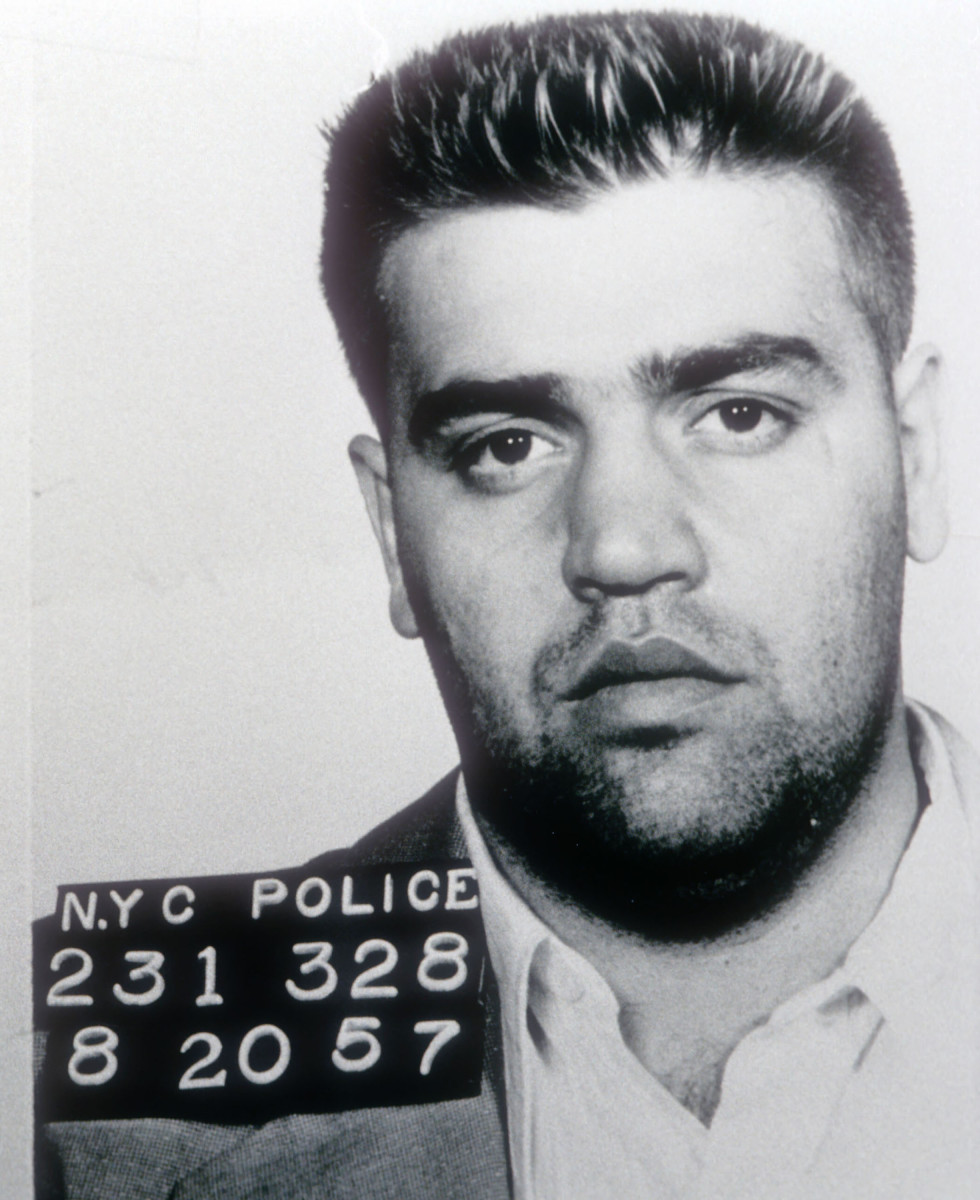 "Infamous Mobsters: 1957 mug shot of Vincent ""the Chin"" Gigante, a former professional boxer who led the Genovese crime family from 1981 to 2005."
