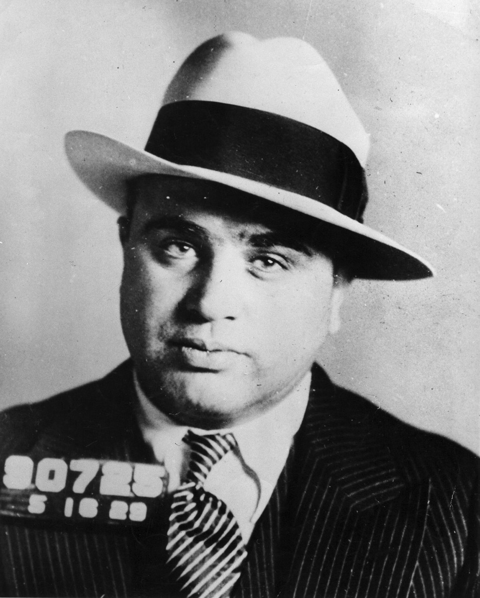Infamous Mobsters: 1930 mug shot of gangster and Chicago mob king Al Capone, whose crime syndicate remains one of the most notorious in American history. Capone was later imprisoned on federal income tax evasion charges.