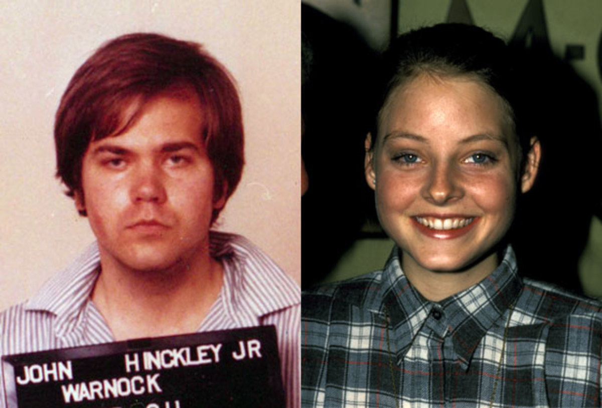 Loved to Death: The son of an oil executive, John Hinckley, Jr. became obsessed with Jodie Foster after seeing her in Taxi Driver.  He stalked her, then shot President Ronald Reagan in 1981 to get her  attention. Hinckley was found not guilty by reason of insanity, and has  been in a psychiatric institution ever since.(WireImage)