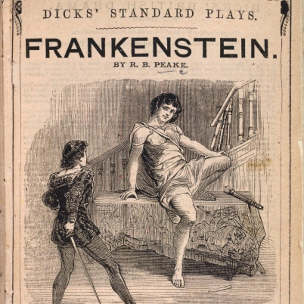 An advertisement for the play 'Presumption; or The Fate of Frankenstein' by Richard Brinsley Peake, 1823. (Getty)