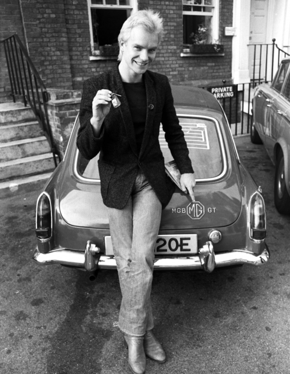 Sting, with a brand new car in London, 1978. (Getty)