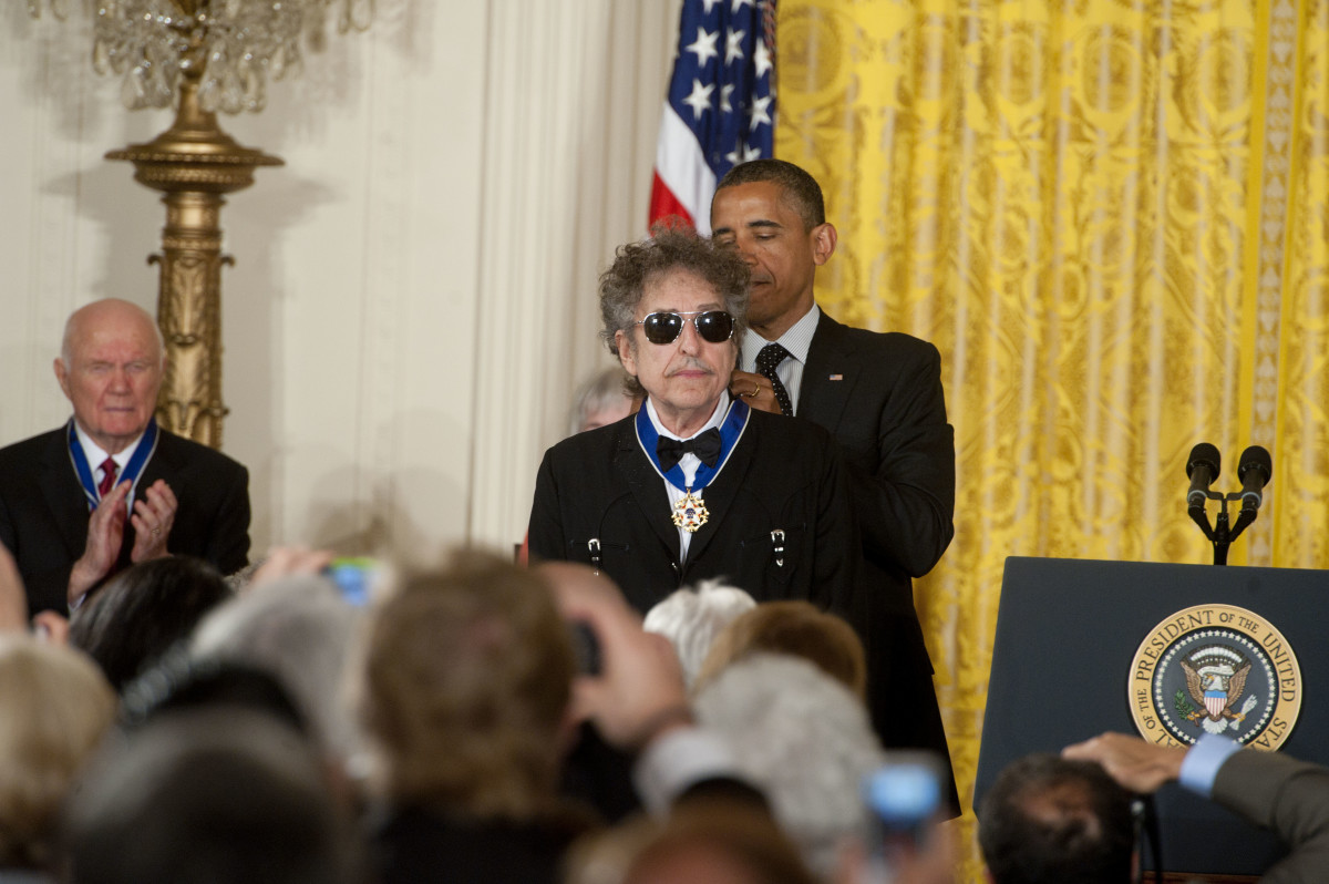 Bob Dylan: Dylan is honored with the Presidential Medal of Freedom from President Barack Obama on May 29, 2012, in Washington, DC. And like any cool rocker would, Dylan keeps his shades on for the historical moment.