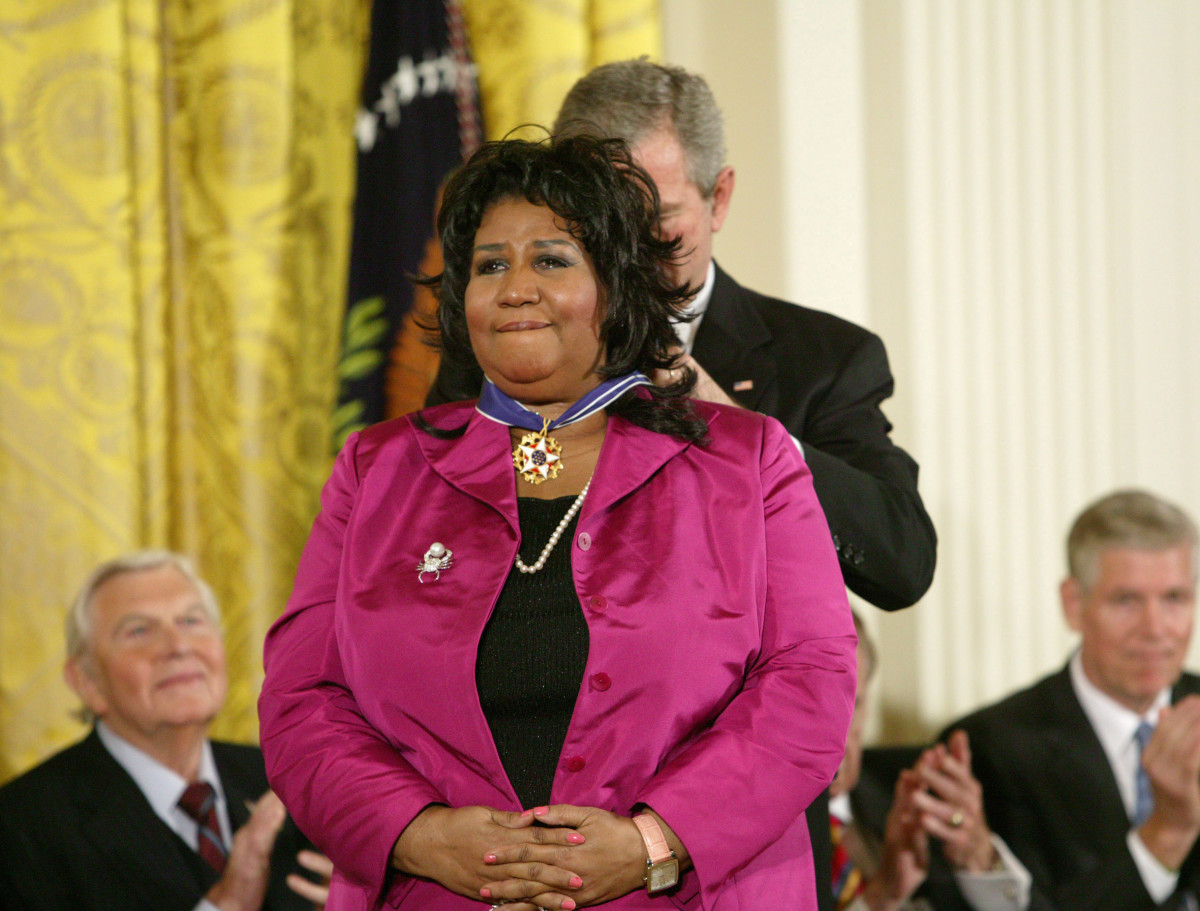 Aretha Franklin: A teary-eyed Aretha Franklin is awarded the Presidential Medal of Freedom by President George W.  Bush at the Freedom Awards Ceremony on November 9, 2005, at the White House in Washington  D.C.  (Photo by Douglas A. Sonders/Getty Images)