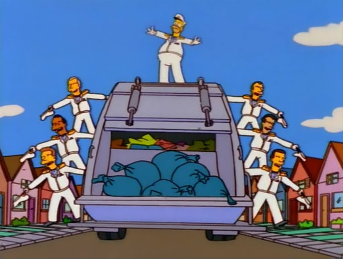 "Homer in ""The Garbage Can Man"" production number."